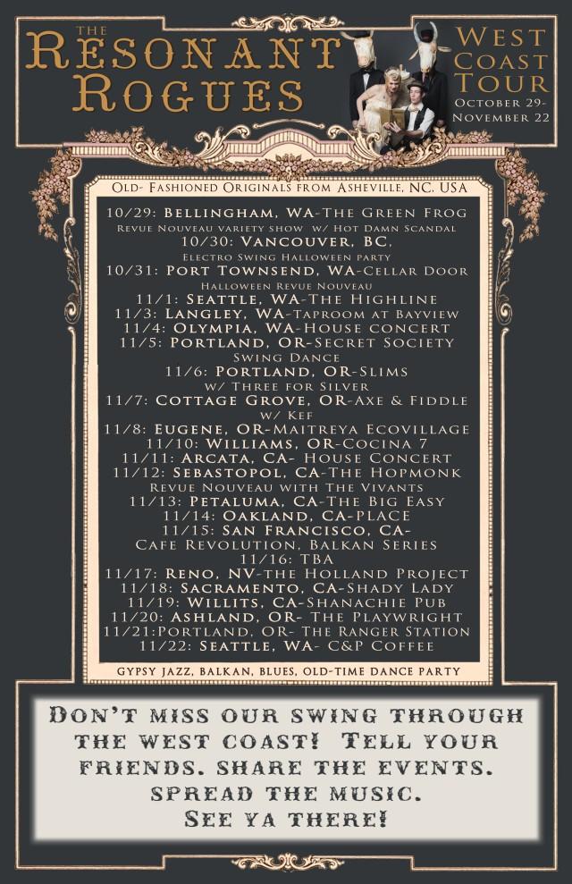 West coast tour 2015 tour date web banner poster