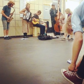 Busking the subway (with dancer Giedre)